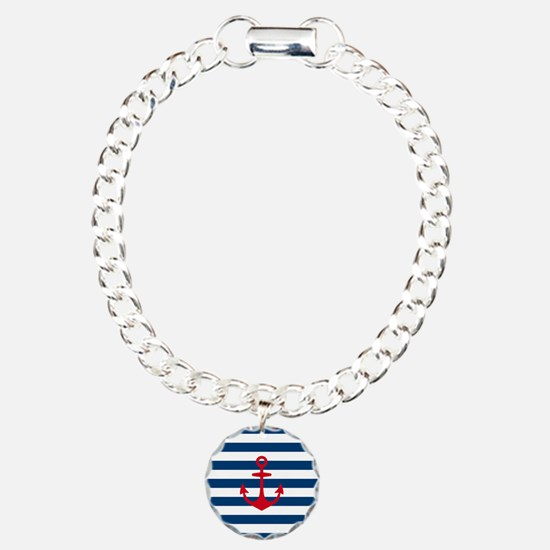 Red Anchor on Navy Blue Bracelet