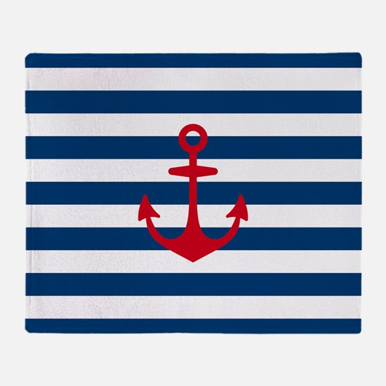 Red Anchor on Navy Blue Stripes Throw Blanket