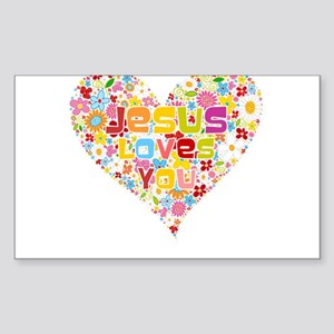 Jesus Loves You Rectangle Sticker
