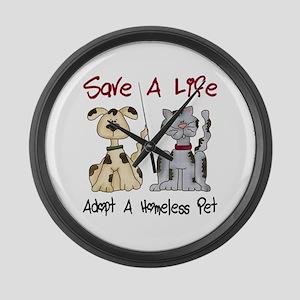 Adopt A Homeless Pet Large Wall Clock