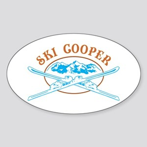 Ski Cooper Crossed-Skis Badge Sticker (Oval)