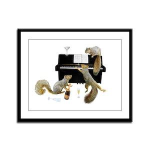 Squirrels at Piano Framed Panel Print