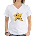Smiley Juicy Rainbow Star Women's V-Neck T-Shirt