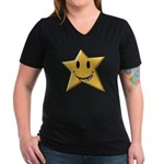 Smiley Juicy Rainbow Star Women's V-Neck Dark T-Sh