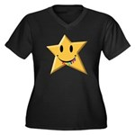 Smiley Juicy Rainbow Star Women's Plus Size V-Neck