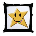 Smiley Juicy Rainbow Star Throw Pillow