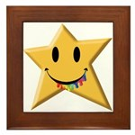 Smiley Juicy Rainbow Star Framed Tile