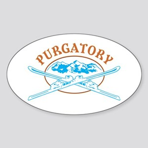 Purgatory Crossed-Skis Badge Sticker (Oval)