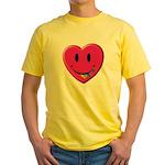 Smiley Juicy Rainbow Heart Yellow T-Shirt