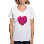 Smiley Juicy Rainbow Heart Women's V-Neck T-Shirt