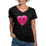Smiley Juicy Rainbow Heart Women's V-Neck Dark T-S