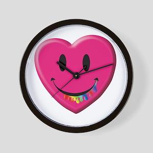 Smiley Juicy Rainbow Heart Wall Clock