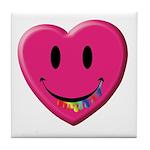 Smiley Juicy Rainbow Heart Tile Coaster