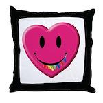 Smiley Juicy Rainbow Heart Throw Pillow