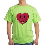 Smiley Juicy Rainbow Heart Green T-Shirt