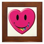 Smiley Juicy Rainbow Heart Framed Tile