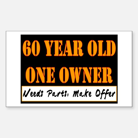 60th Birthday Rectangle Decal