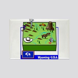 Wyoming Map Rectangle Magnet