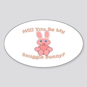 Snuggle Bunny Oval Sticker
