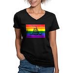 Rainbow Gadsden Flag Women's V-Neck Dark T-Shirt