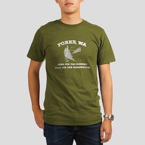Forks Stay for Werewolves Organic Men's T-Shirt (d