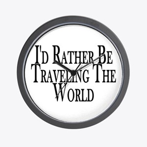Rather Travel The World Wall Clock