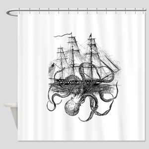 Octopus Pirate Ship Shower Curtains