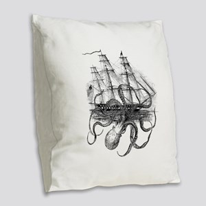 OctoShip Burlap Throw Pillow