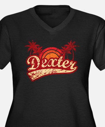 'Vintage' Dexter Women's Plus Size V-Neck Dark T-S