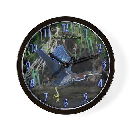 Green Backed Heron Wall Clock
