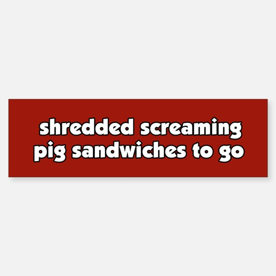 Screaming Pig Sandwich Bumper Car Car Sticker