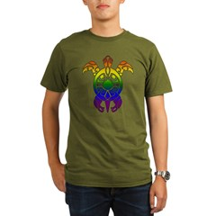 Rainbow Turtle Organic Men's T-Shirt (dark)