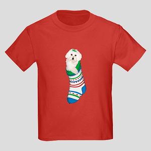 Bichon puppy Christmas Stocking Kids Dark T-Shirt