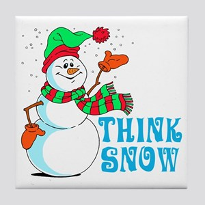 Festive Cartoon Snowman Tile Coaster