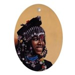 Bead Girl Oval Ornament