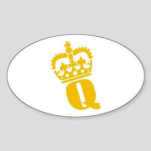 Q - character - name Oval Sticker