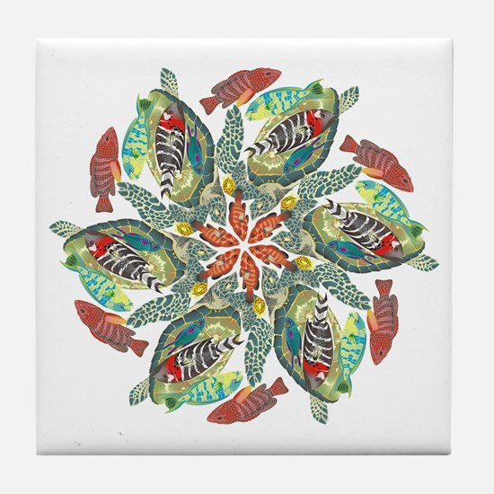 Green And Red Fish Snowflake Tile Coaster