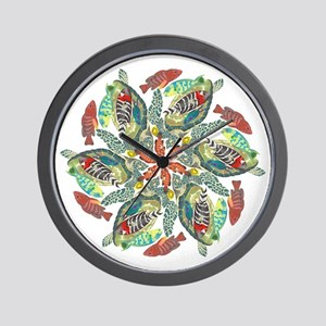 green and red fish snowflake  Wall Clock