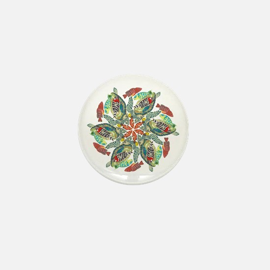 Green And Red Fish Snowflake Mini Button