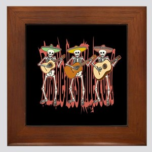 Mariachi Skeleton Trio Framed Tile