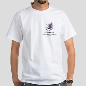 White T-Shirt W/Fibro Butterfly