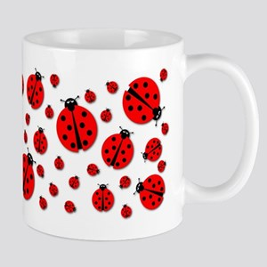 Many Ladybugs Shadows Large Mugs