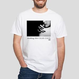 Smoking Hot Cigar Chick Men's White T-Shirt
