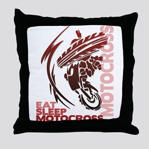 Eat Sleep Motocross Throw Pillow