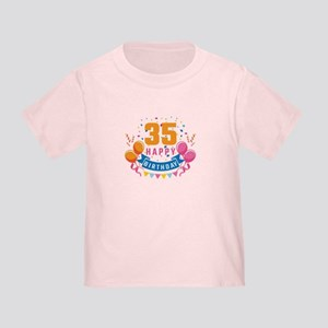 35th Birthday Balloon Banner Confetti Fun T Shirt