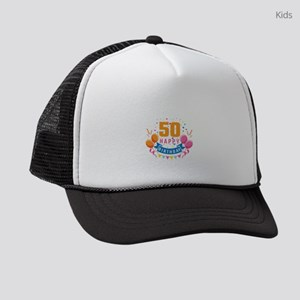 50th Birthday Balloon Banner Conf Kids Trucker Hat