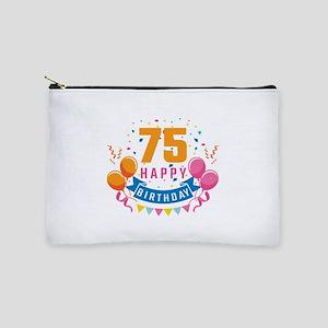 75th Birthday Balloon Banner Confetti F Makeup Bag