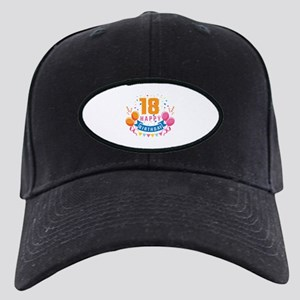 18th Birthday Balloon Banner Black Cap with Patch
