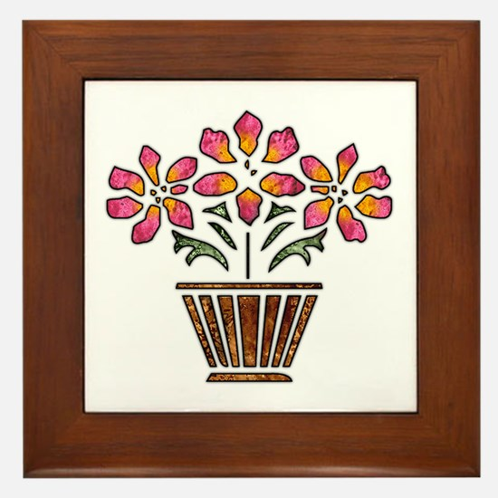 Floral Art Vase Design Framed Tile
