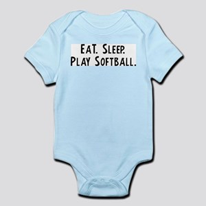 Eat, Sleep, Play Softball Infant Creeper